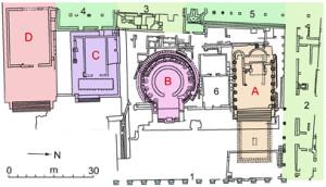Area sacra di Largo Argentina. Piantina. In 3 indicato il luogo dove fu ucciso Cesare.