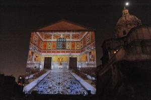 Foro di Cesare - ricostruzione virtuale durante lo spettacolo: