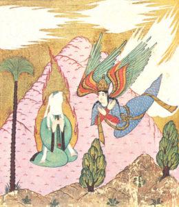Maometto con il volto velato e l'arcangelo Gabriele - antica miniatura