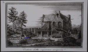 La Capanna Svizzera - Incisione del 1842 - Villa Torlonia