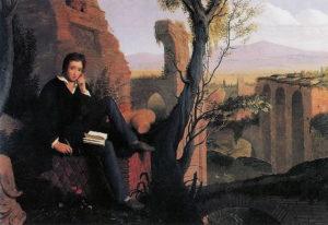 """Shelley mentre scrive il """"Prometeo Liberato"""" alle Terme di caracalla - Joseph Severn"""